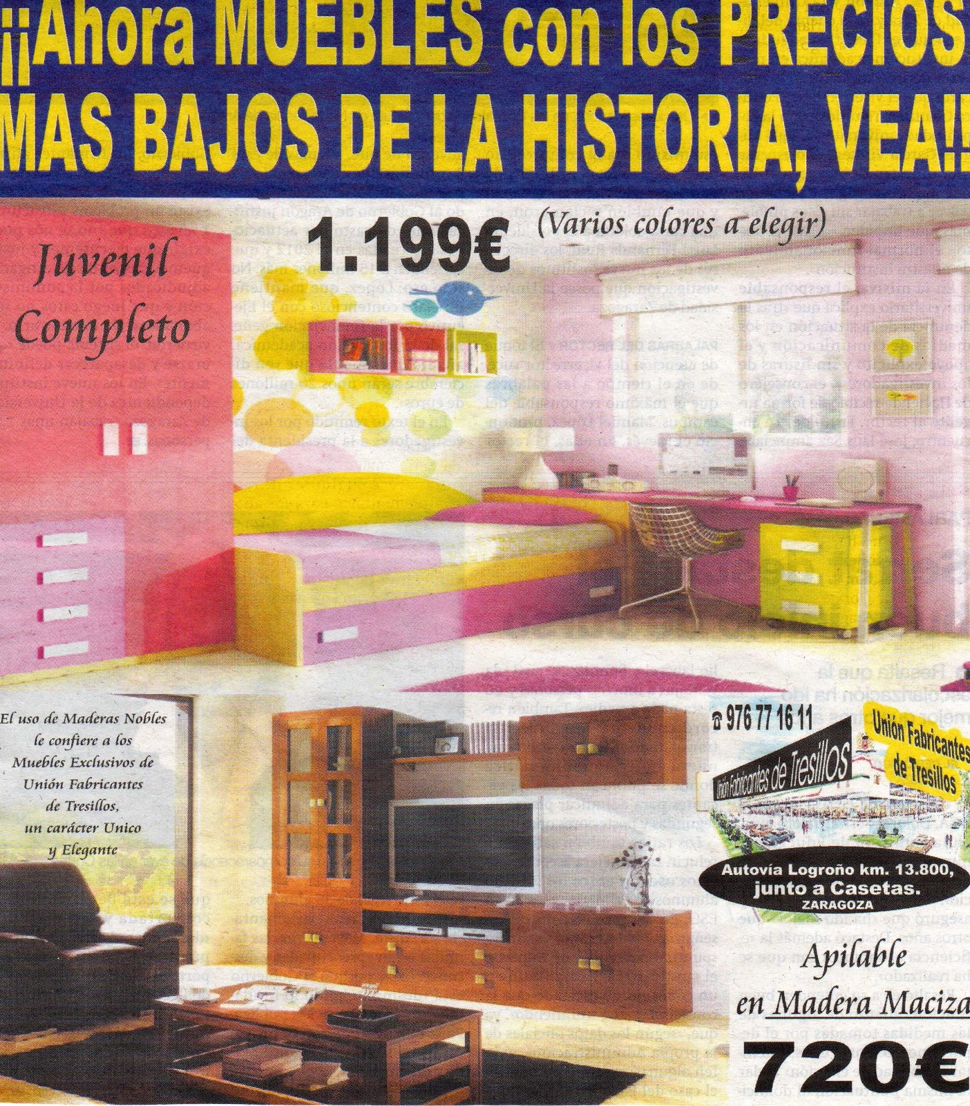 Uni n fabricantes de tresillos mueble juvenil for Muebles baratisimos