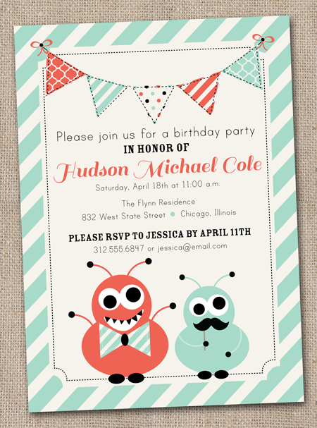 Ink Obsession Designs New Monster Nautical Birthday Party Invites