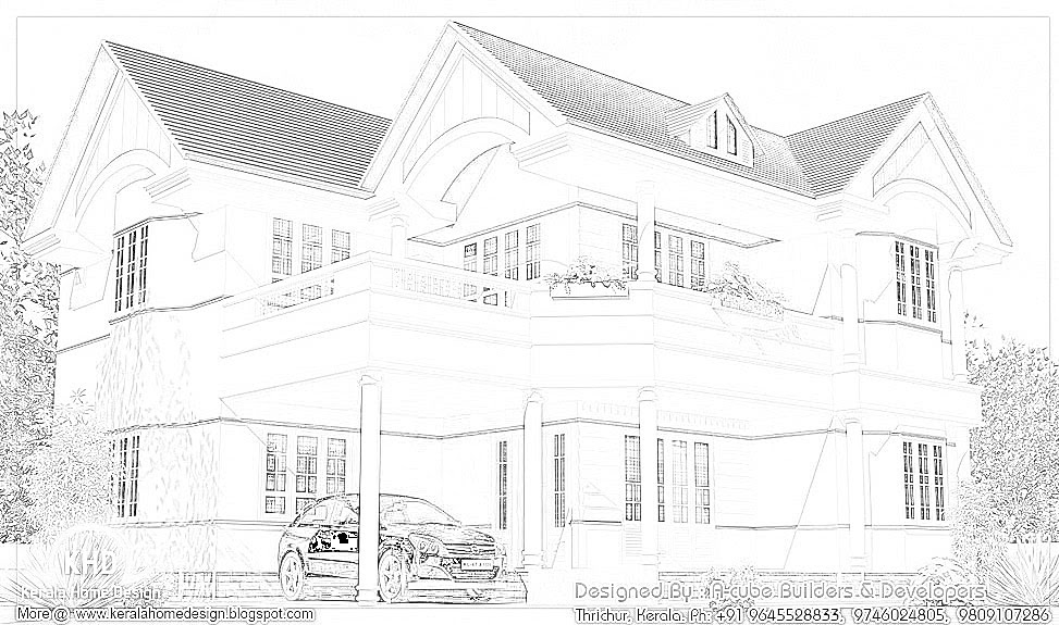 Beautiful home elevation 2600 sq ft kerala home for 2600 sq ft house plans