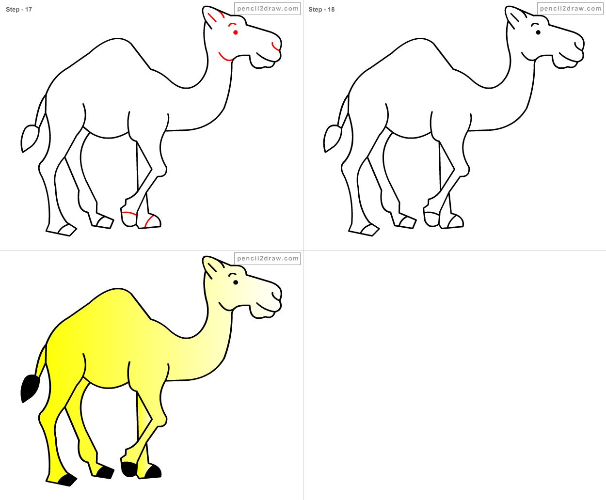 Fpencil how to draw cartoon camel step by step for How to make cartoon drawings step by step