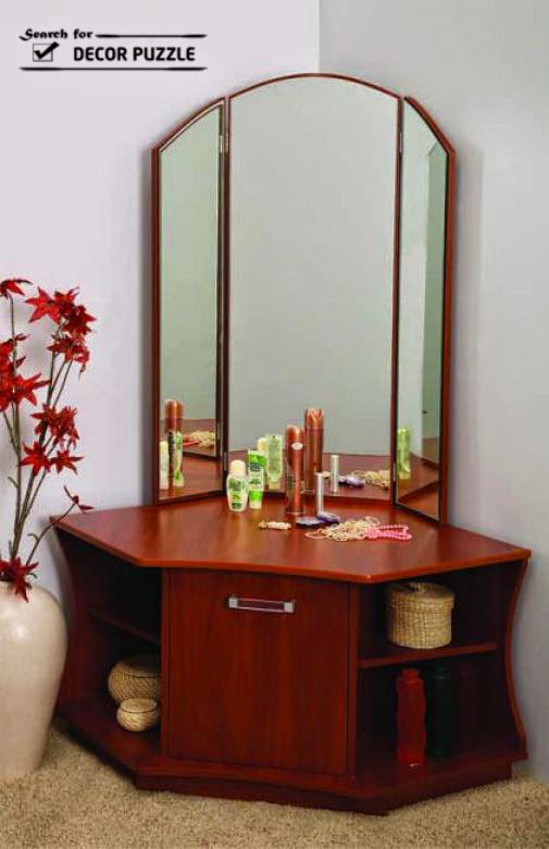 Unique modern corner dressing table designs for small bedroom for Bedroom dressing table
