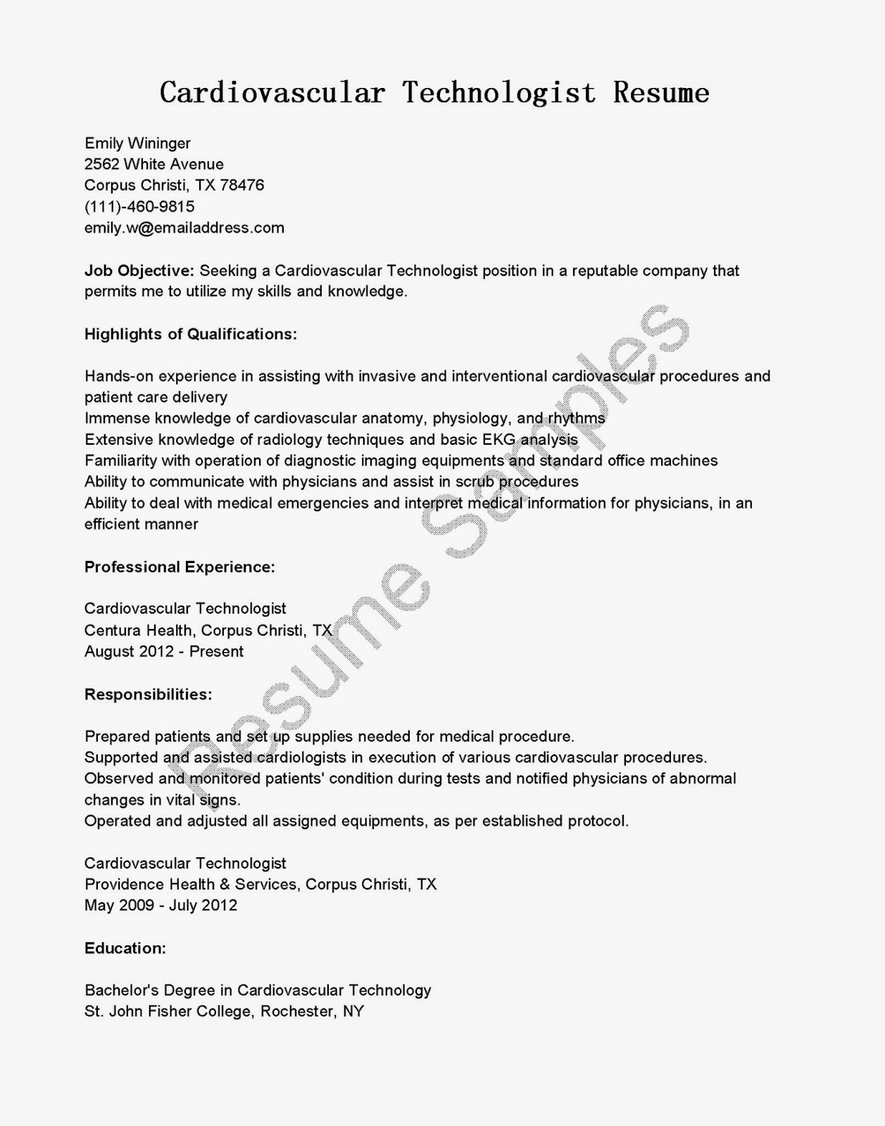 resume samples  cardiovascular technologist resume sample