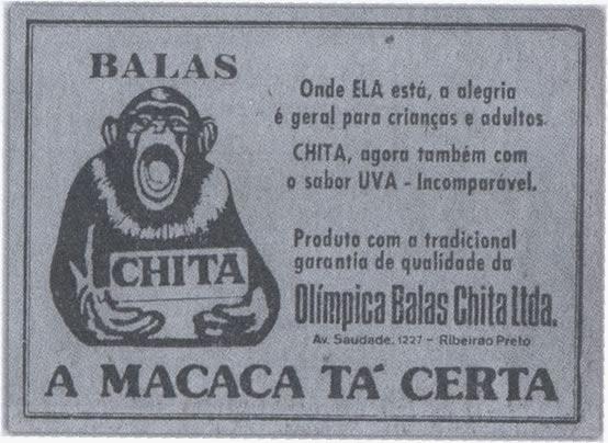 Propagandas das Balas Chita nos anos 40.