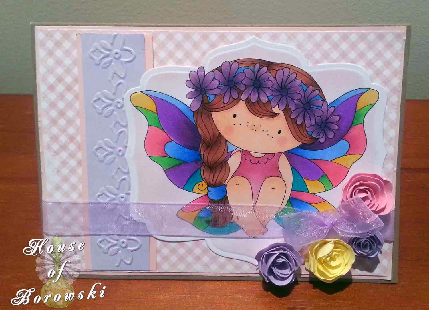 HOB, Copics, fairy izzy, Garden Favourites quilled creations dies, Kaisercraft organza ribbon,border frills embossing folder