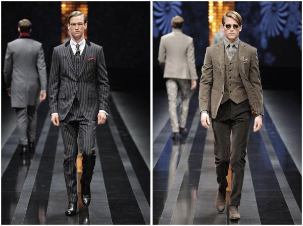 Canali 2012秋冬季上的條紋西服套裝(左)、三件套西服套裝(右)