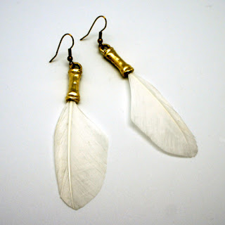 Feathers and gold brass earrings Protos fashion jewelery