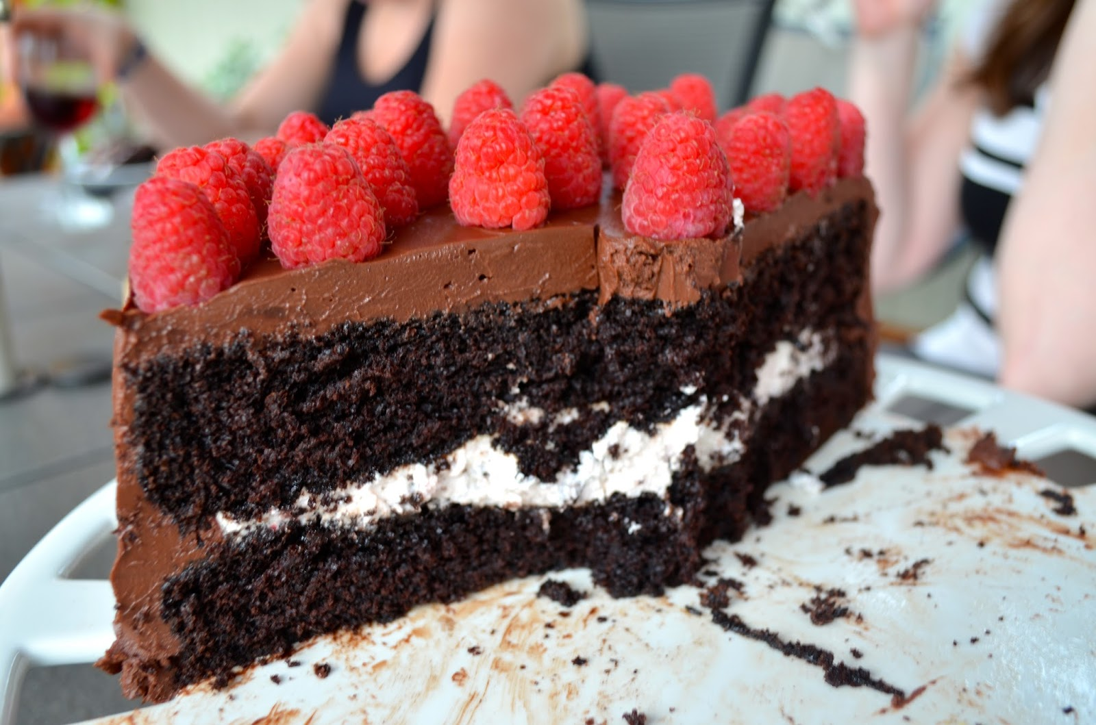 Dark chocolate raspberry cake detail