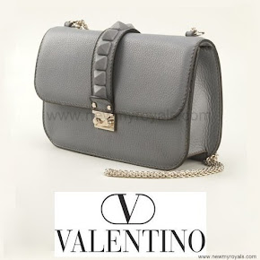 Crown Princess Victoria Style Valentino Gray Glam Lock Shoulder Bag