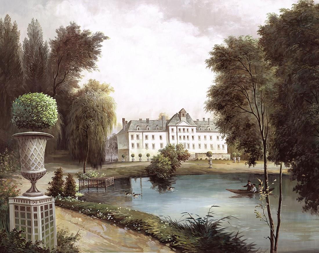 Ananb la maison du lac version sepia papier peint panoramique - La maison du papier peint ...