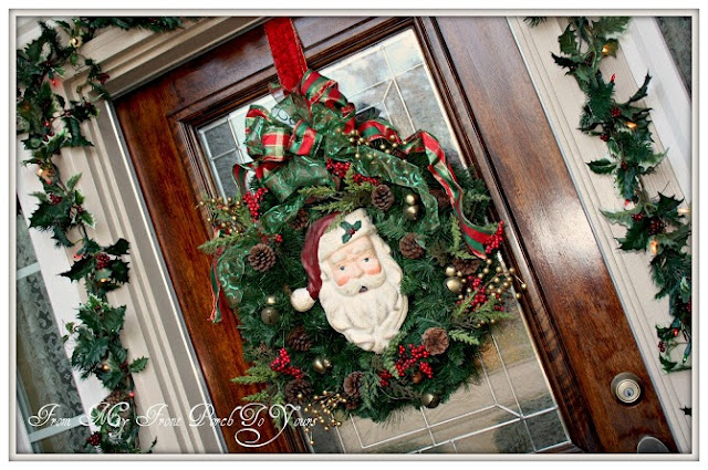 Christmas Porch Inspiration- Vintage Santa Wreath-From My Front Porch To Yours
