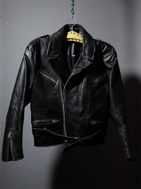 Schwarze Biker-Lederjacke Vintage bei Burrito Bros. Customware