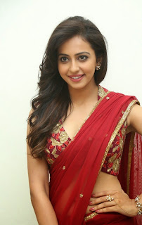 Actress Rakul Preet Singh  Pictures in Red Saree at Tiger Audio Release Function  75