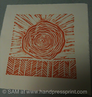 tree, field, linocut, lino print, hand press print