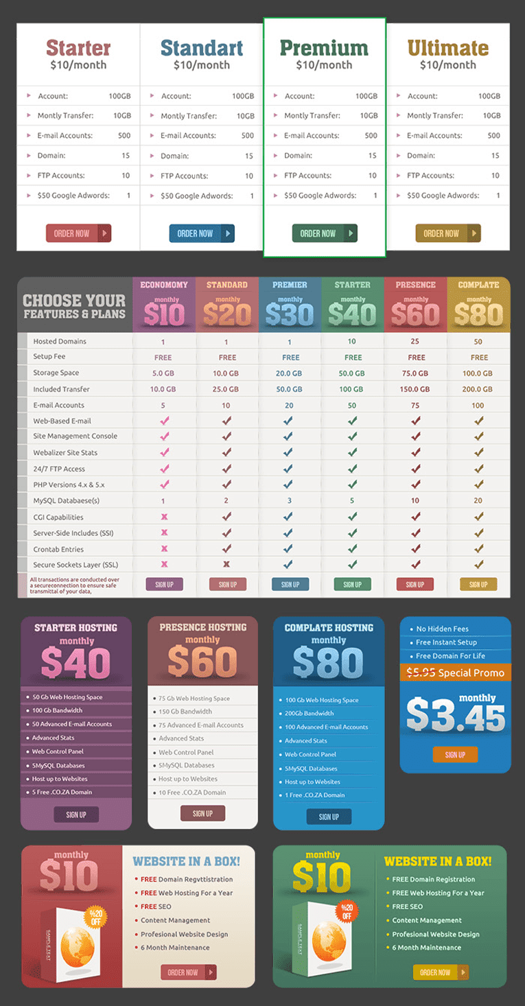 Price Tables and Web Banners PSD