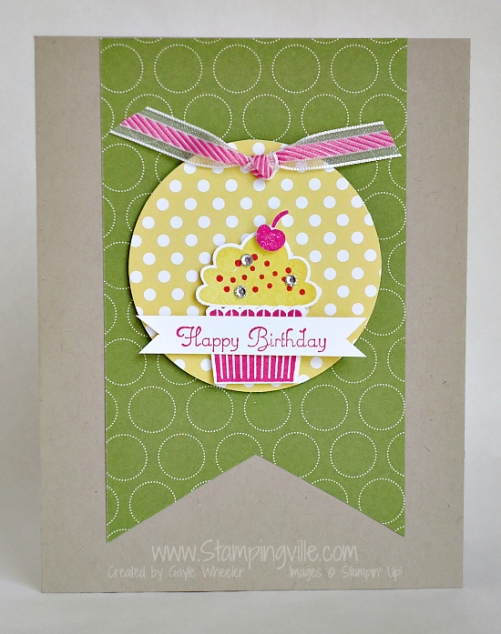 Birthday cupcake with sprinkles & a cherry! #cardmaking #birthdaycards #StampinUp #Stampingville