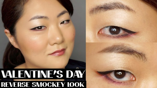 reverse smokey eyes, look, asian monolid, valentine's day