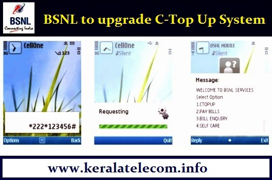 BSNL to upgrade C-Top Up system on 1st August 2015, C-Top Up Services in South Zone will be affected