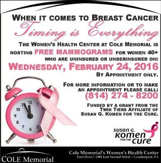 2-24 Free Mamograms at Cole