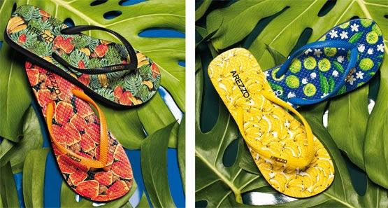 chinelos estampas frutas tropicais Arezzo coleção Copa do Mundo Brasil