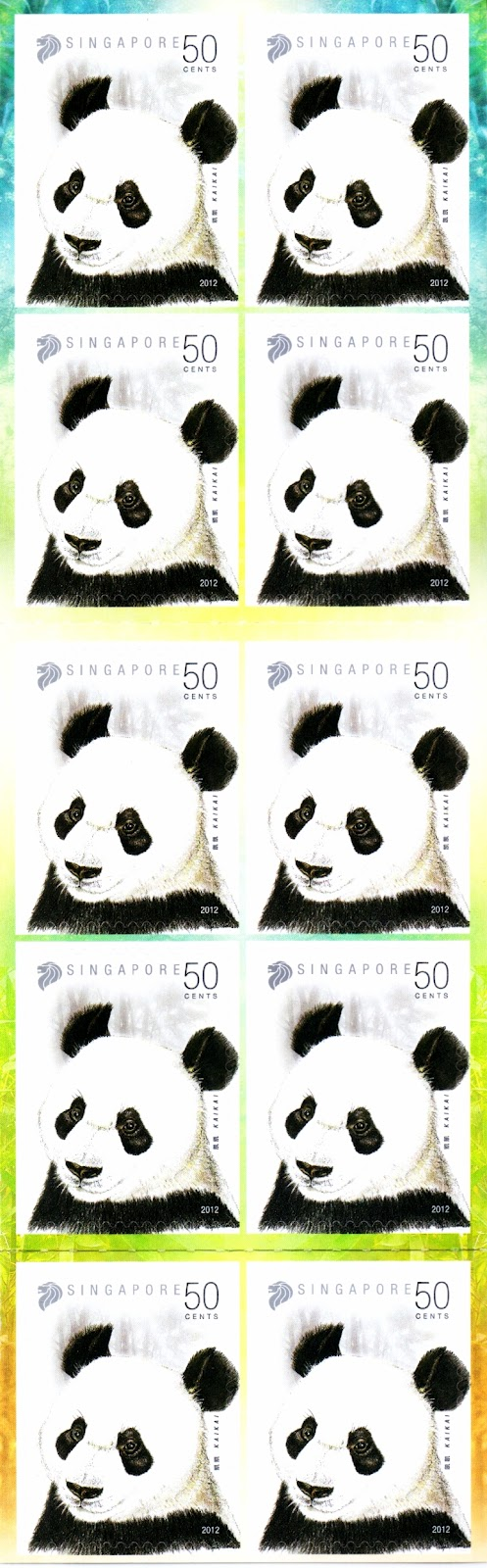 Pandas - 50¢ Self-adhesive Booklet (10 Stamps)