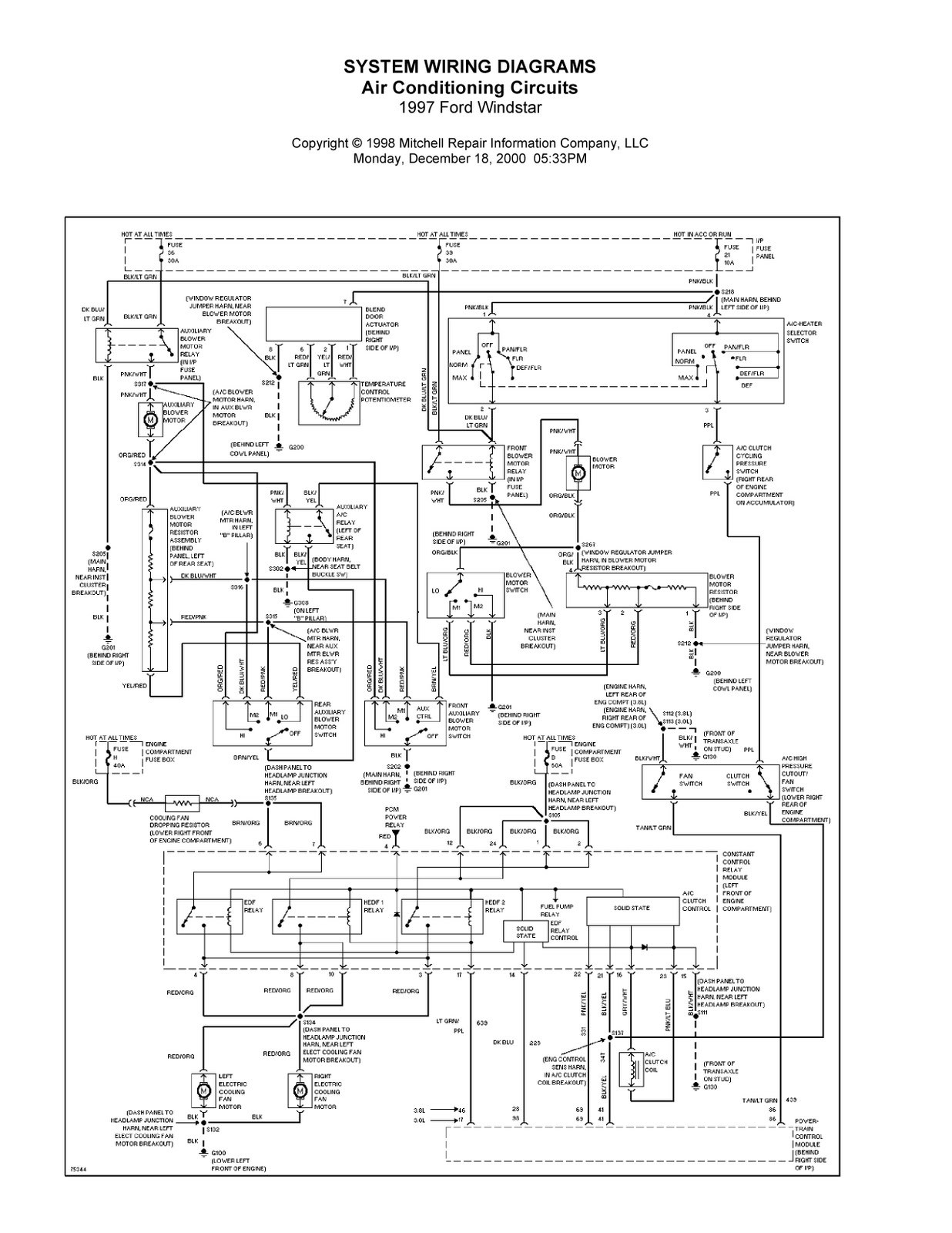 Ford Air Conditioning Wiring Diagram Diagrams Schema Conditioner 1997 Windstar System Tools