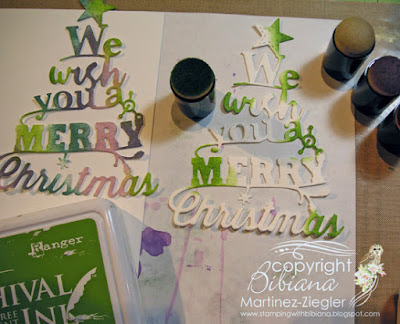 how to color die cuts merry card step 1