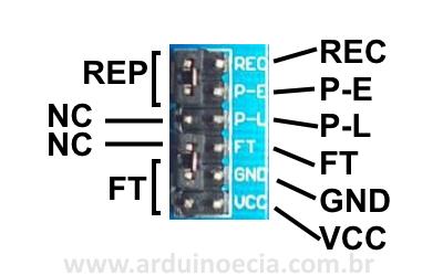 Módulo gravador de voz ISD1820 - Conector