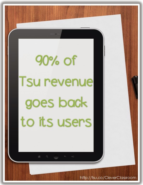 Image: Tsu 90% of revenue goes back to users. Post via Clever Classroom