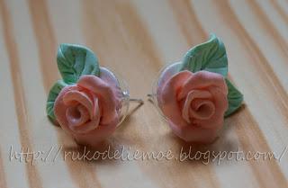 пластика, розовые розы, украшения из пластики