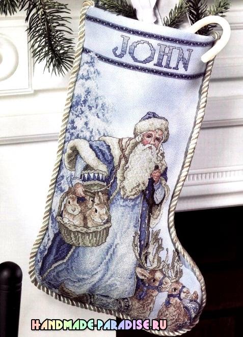 Новогодний сапожок с вышивкой. Схема