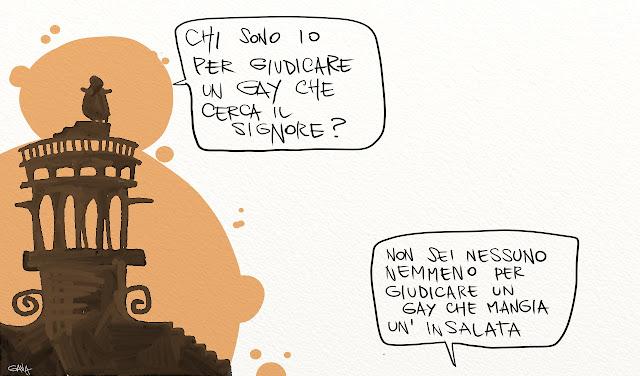 Gava gavavenezia satira vignette illustrazione caricatura fumetto ridere gavagnin marco illustratore disegno papa francesco gay chi sono io sole natura