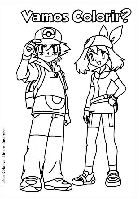 Desenho de Dia do Amigo para colorir - Ash e Misty Pokémon