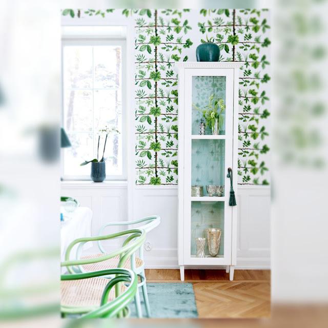 Marta decoycina color verde apuesta por el for Papel pintado tonos verdes