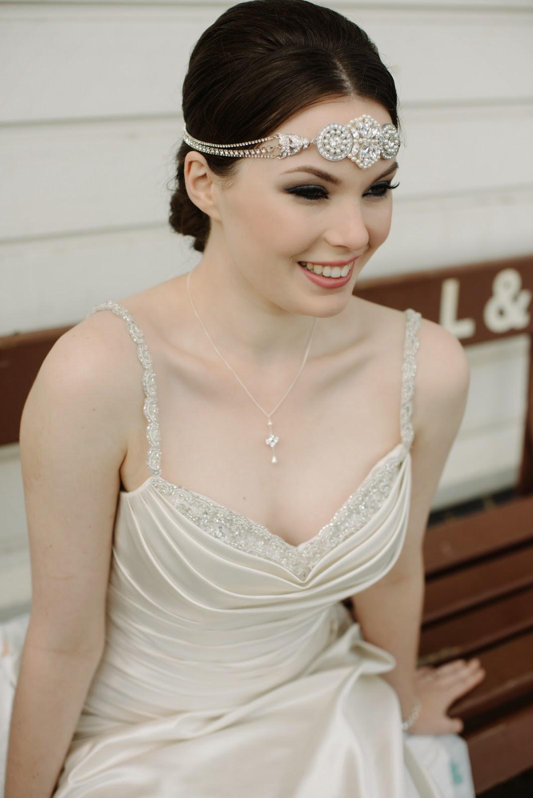 art deco headband, art deco wedding piece, jasmine headpiece,