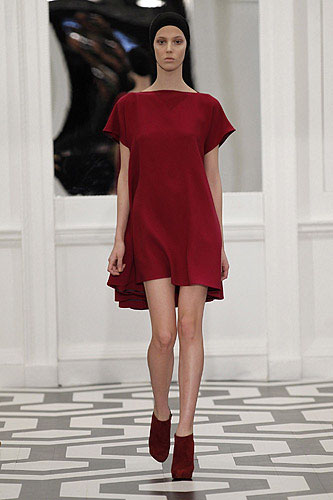 A tentlike dress from her own Victoria Beckham Fall Winter 2011 12