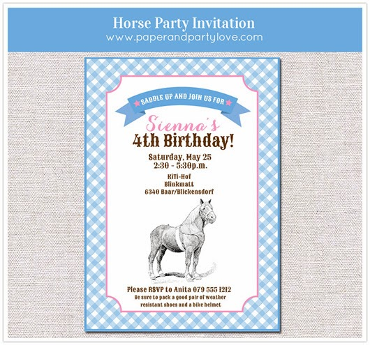 horse party invitation girl party