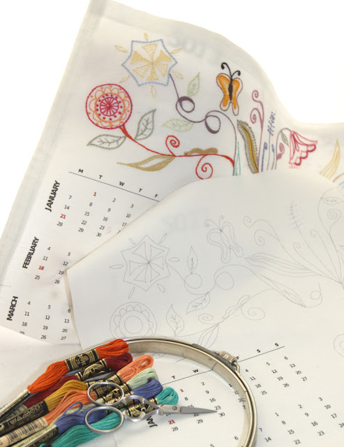 hand embroidery calendar