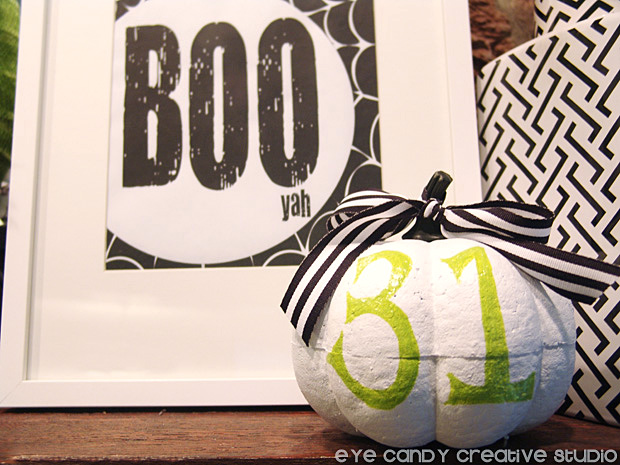 decorating for halloween, BOO art print, 31 white pumpkin, framed art