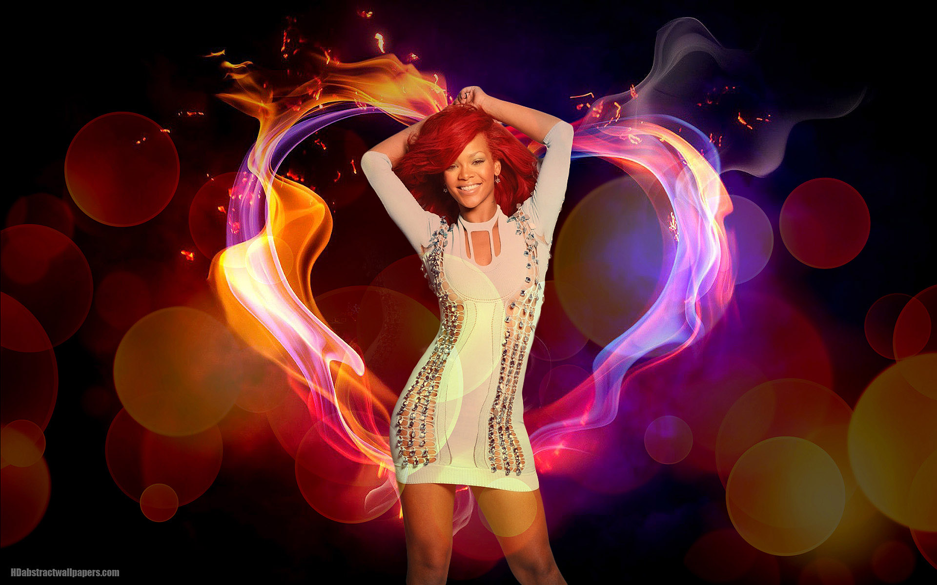 abstract rihanna wallpaper with love heart of fire | hd abstract