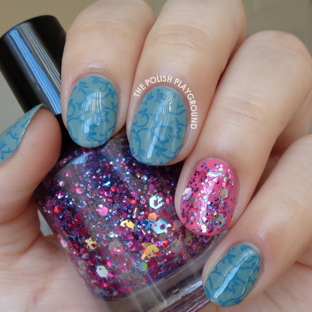 Blue Floral Vines Stamping with Glitter Accent Nail Art