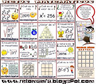 Cuadrados Mágicos, Retos matemáticos, Desafíos matemáticos, Problemas matemáticos, Acertijos, Acertijos matemáticos, Problemas de lógica, Problemas para pensar, Descubre el número, Cuál es el número que falta, Descubre el número que falta, Cuántos triángulos hay, Cuántos cuadrados hay