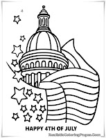 Happy 4th July White House Coloring Pages Printable