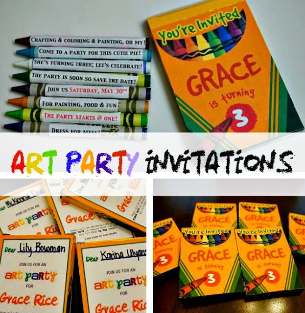 Pinterest, Growing Gracie, Art Party Invitations, DIY, DIY art party invites, Art Party,