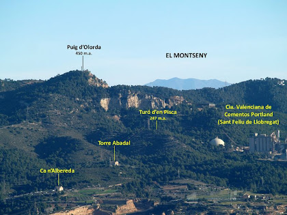 Vista del Puig d'Olorda i els seus voltants amb el Montseny com a teló de fons
