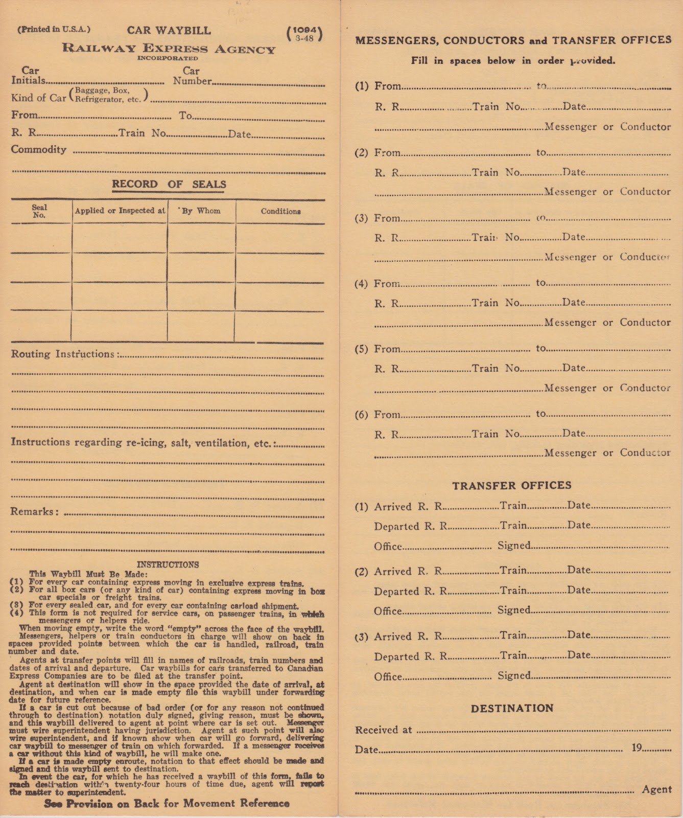 a railway express waybill modeling the cnw in milwaukee  i always thought of rea express traffic as moving in rea express reefers in passenger trains but the instructions on this form clearly imply that traffic