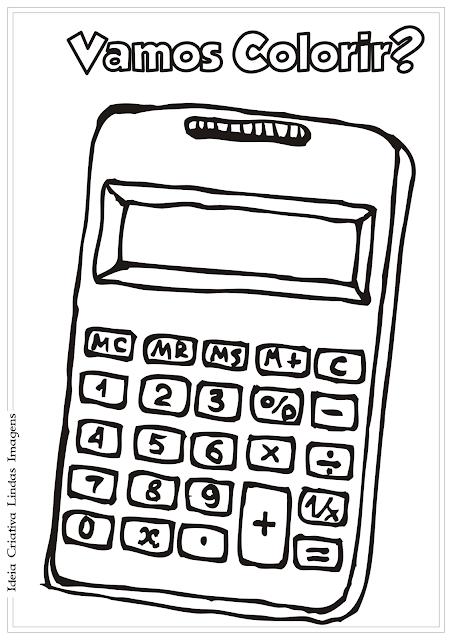 Calculadora - Volta às Aulas desenho para colorir