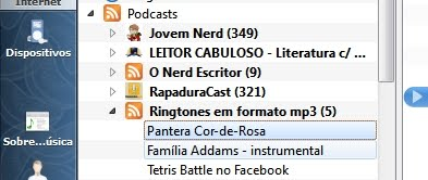 Menu de podcasts