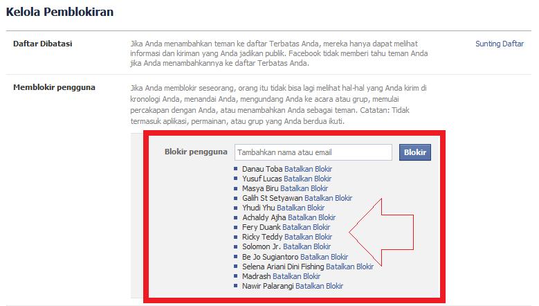daftar blokir akun fb