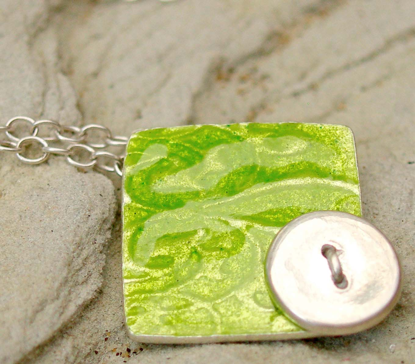 Enamelled Silver Button Fabric Pendant in Lime Green