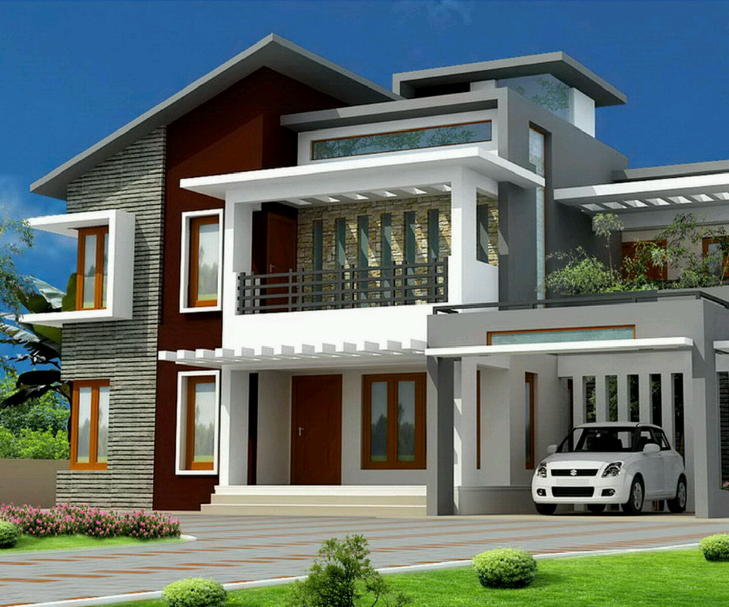 Modern bungalows exterior designs views.